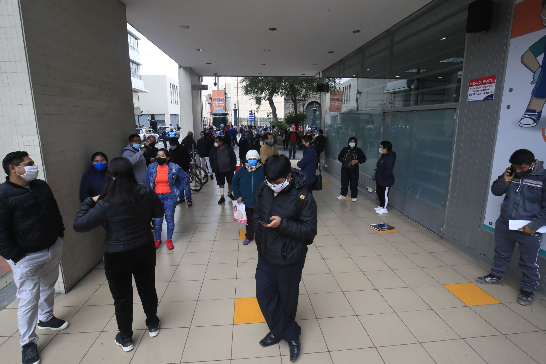 Exteriores del local del SAT, durante el primer día de cuarentena focalizada en Lima. Foto: ANDINA/ Juan Carlos Guzmán