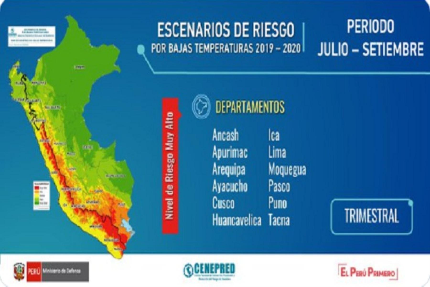 Los centros poblados con riesgo muy alto se encuentran ubicados en Arequipa, Puno, Huancavelica, Moquegua, Lima, Cusco, Tacna, Áncash, Ayacucho, Ica y Apurímac.