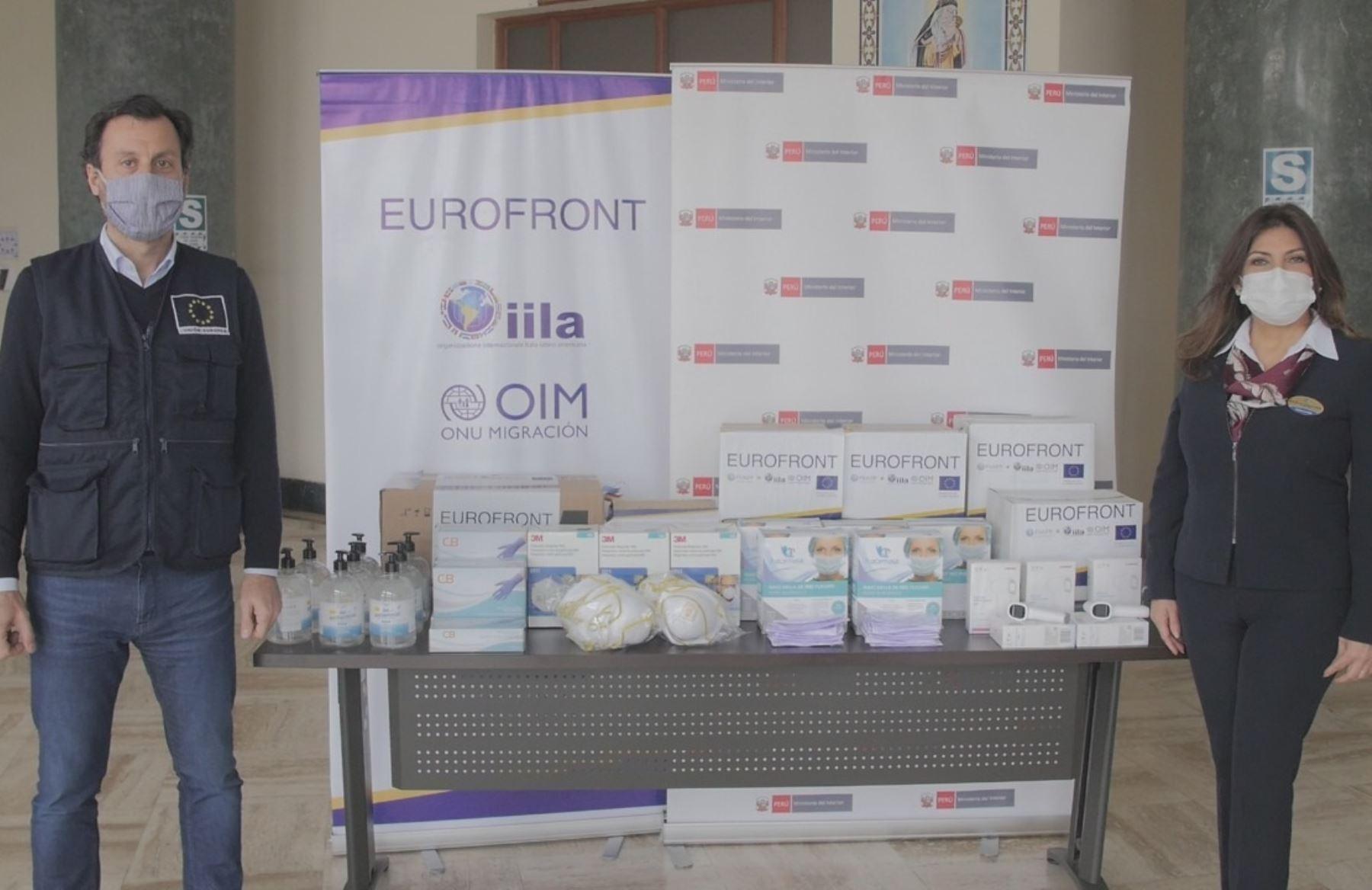 Unión Europea y la Organización Internacional para las Migraciones donaron equipos de protección frente al coronavirus al puesto de control fronterizo de Puno. ANDINA/Difusión