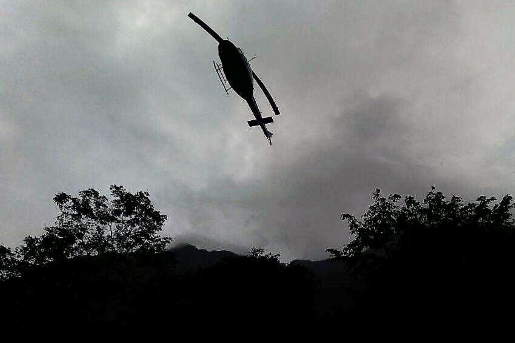 La FAP reportó el hallazgo del helicóptero desaparecido en Amazonas y confirma muerte de tripulantes y pasajeros. .Foto: Difusión