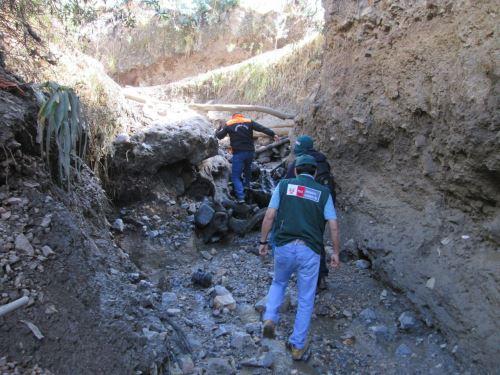 Especialistas de la ANA inspeccionaron daños causados por la activación de quebrada a causa de una inusual lluvia en provincia de Pomabamba, en Áncash. ANDINA/Difusión