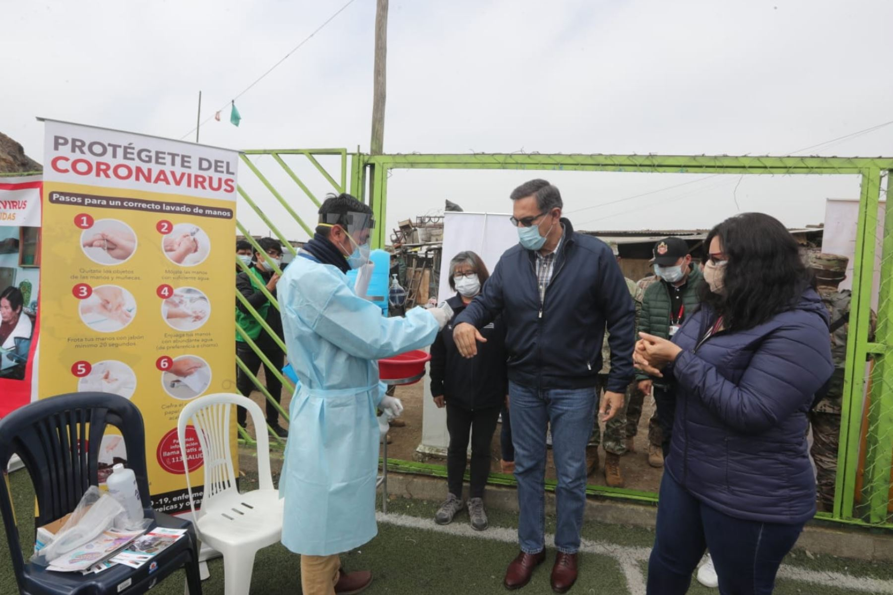 El presidente Martin Vizcarra y la viceministra Nancy Zerpa supervisan la intervención de atención primaria.Niños, gestantes, adultos mayores y personas con comorbilidades de El Agustino reciben servicios de salud en la actividad