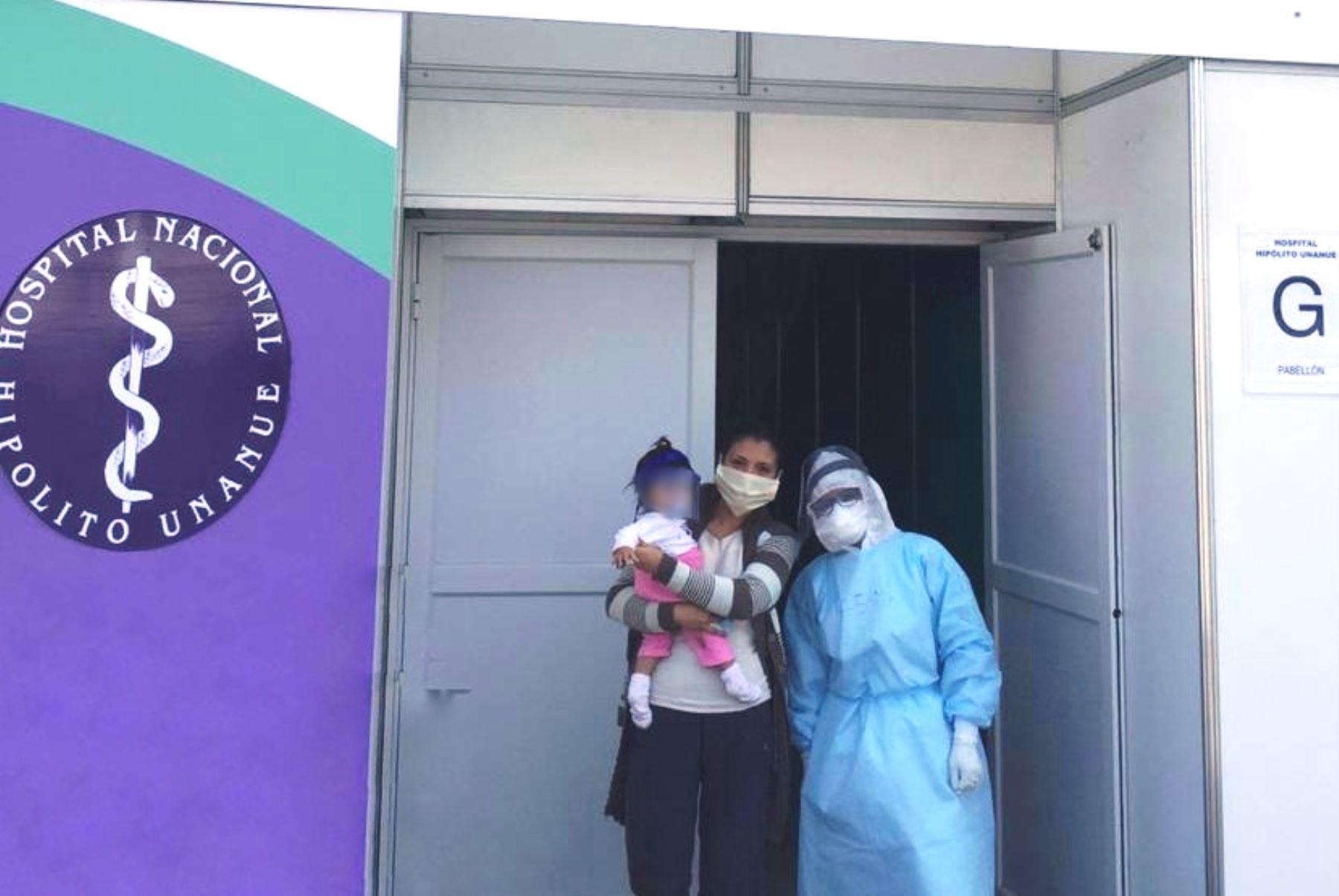 Bebé de 9 meses venció al covid-19 y fue dada de alta en hospital temporal. Foto: ANDINA/Difusión.