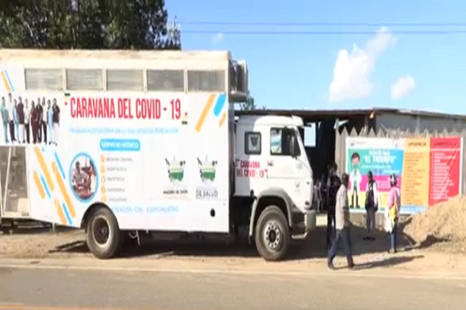 """La """"Caravana Covid-19"""" se desplazará en los próximos días a Inambari y Tahuamanu, región Madre de Dios, en la selva sur peruana."""