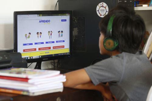 La estrategia Aprendo en Casa es seguida cada semana por más de 6 millones de televidentes a escala nacional. Foto: ANDINA/Eddy Ramos