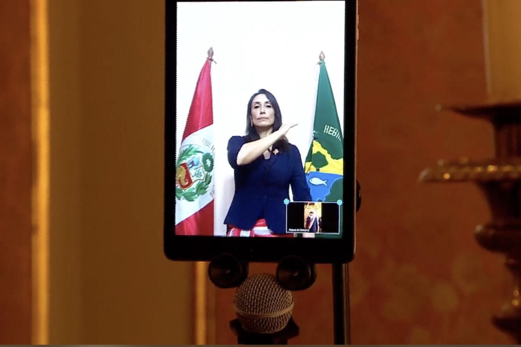 Patricia Donayre juró de forma virtual como ministra de Desarrollo e Inclusión Social. Foto: Captura Tv