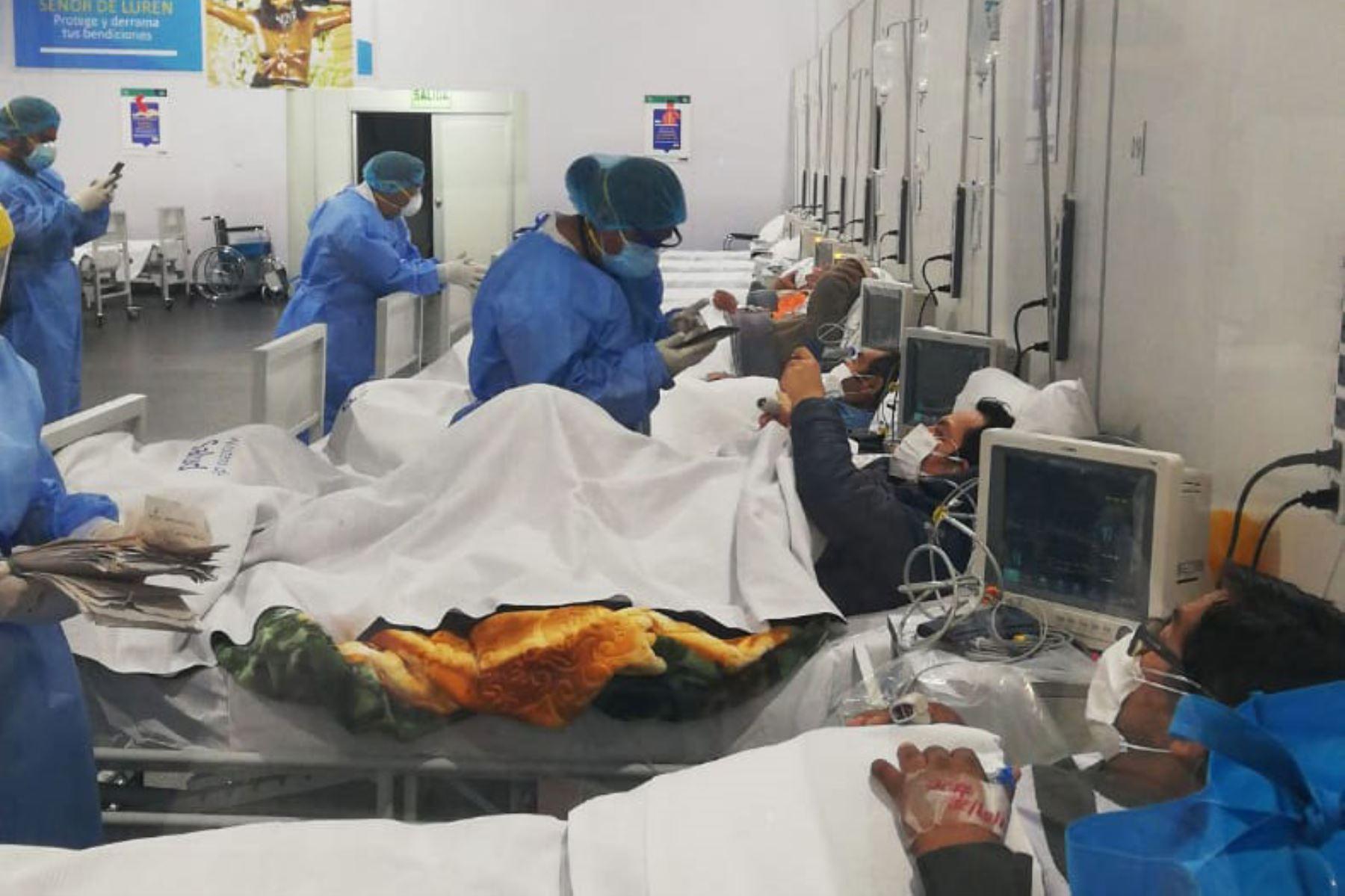 El Pronis implmentó un ambiente temporal de hospitalización en la región Ica para pacientes covid-19. Foto: ANDINA/Difusión