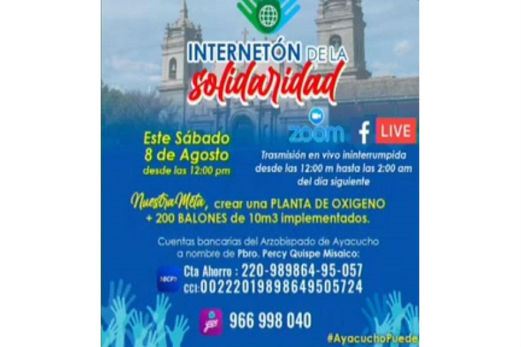 La fecha central de la Internetón de la Solidaridad en Ayacucho se efectuará el sábado 8 de agosto desde el mediodía. Foto: ANDINA/Difusión