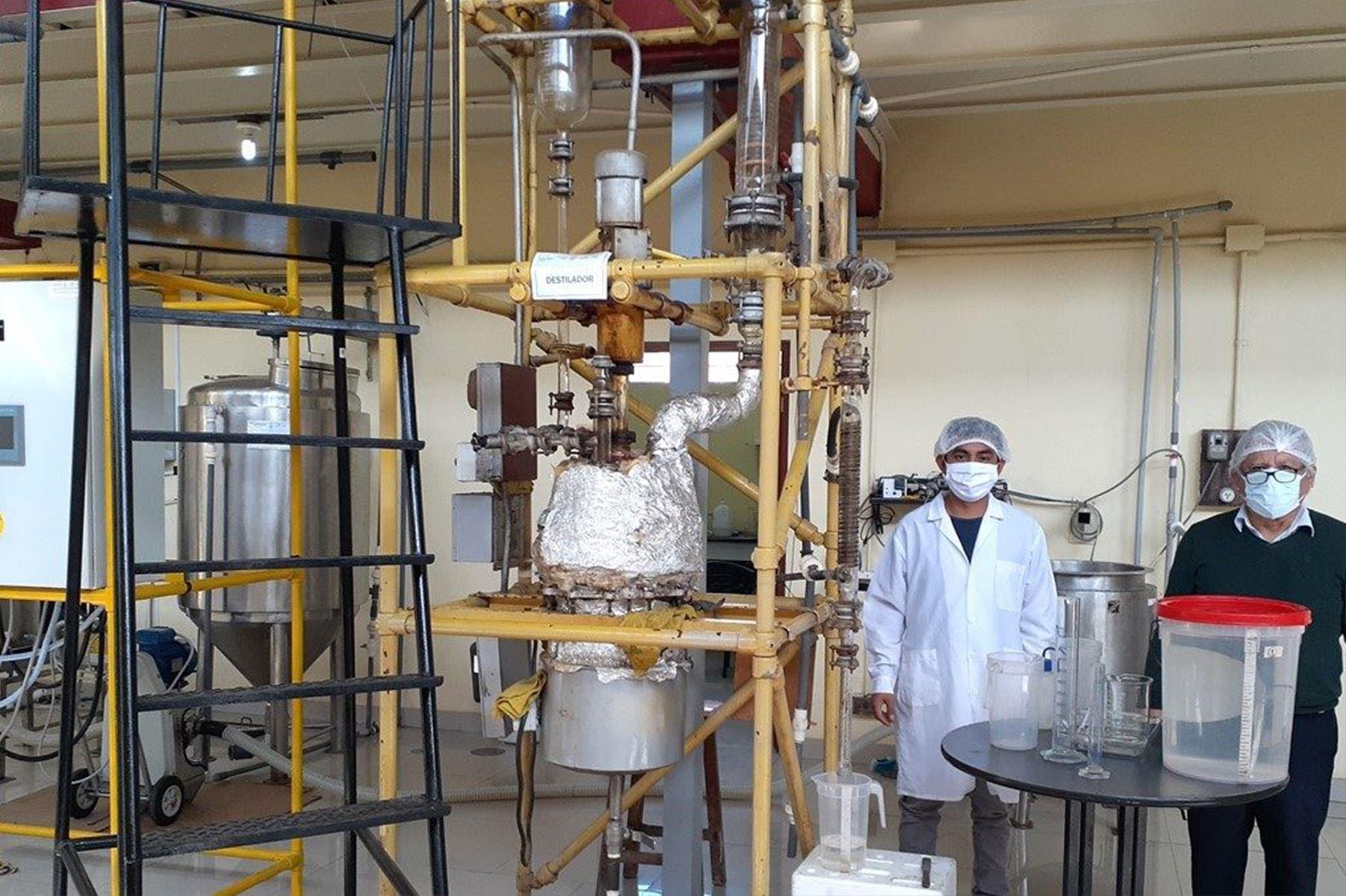 Investigadores de la UNI produce alcohol medicinal y alcohol gel, aromatizado con la esencia de hojas de eucalipto.