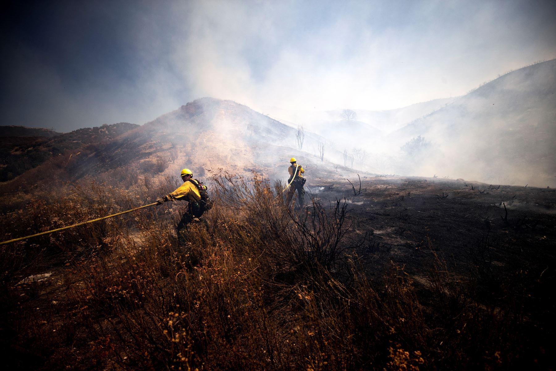 Los bomberos intentan extinguir el incendio de Elsmere cerca de Santa Clarita, California, EE. UU. Según los últimos informes de los medios, el incendio ha quemado 130 acres.   Foto: EFE