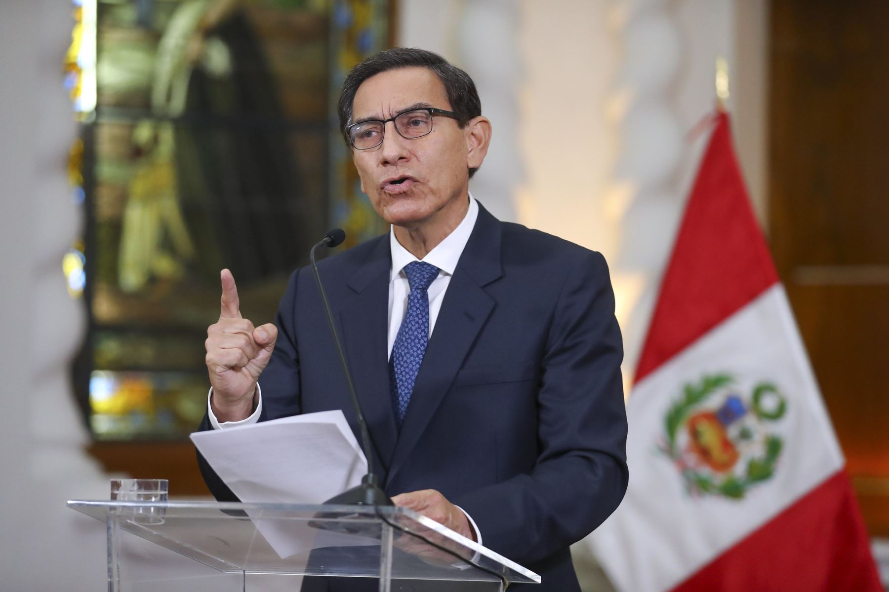 Pronunciamiento del presidente Martín Vizcarra. Foto: ANDINA/Prensa Presidencia