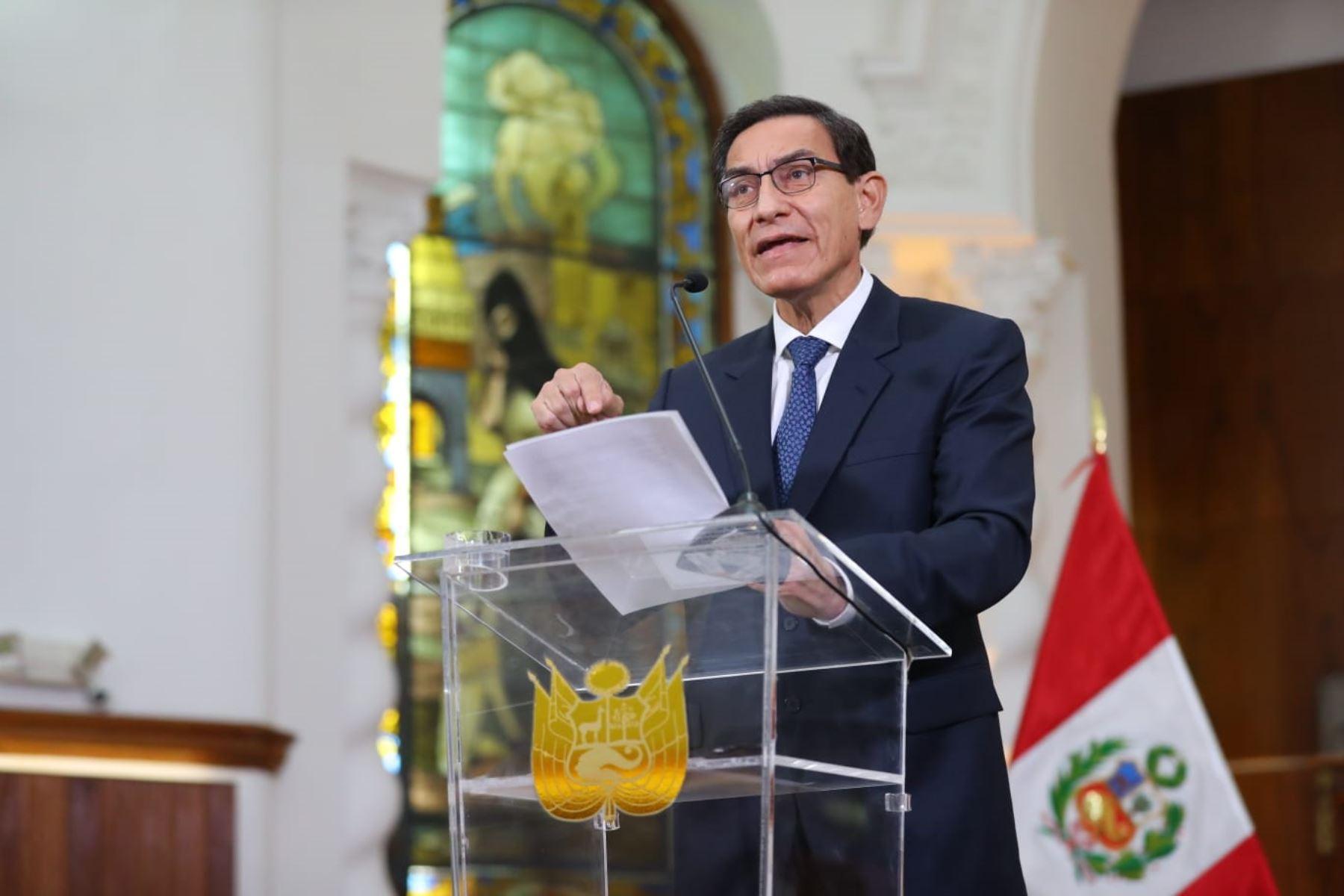 Pronunciamiento del presidente Martín Vizcarra.Foto: ANDINA/Prensa Presidencia