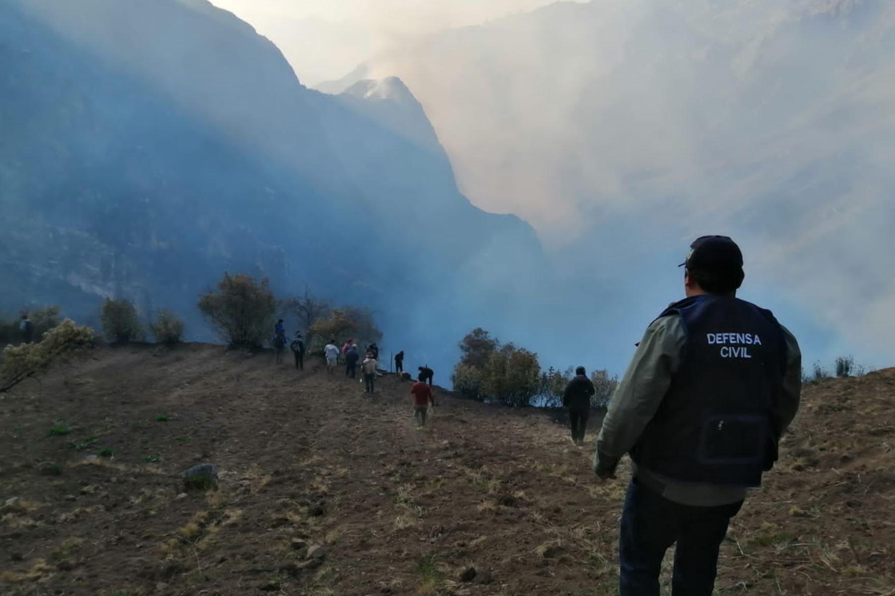 Incendio forestal en el distrito de San Marcos, provincia ancashina de Huari. ANDINA/Difusión