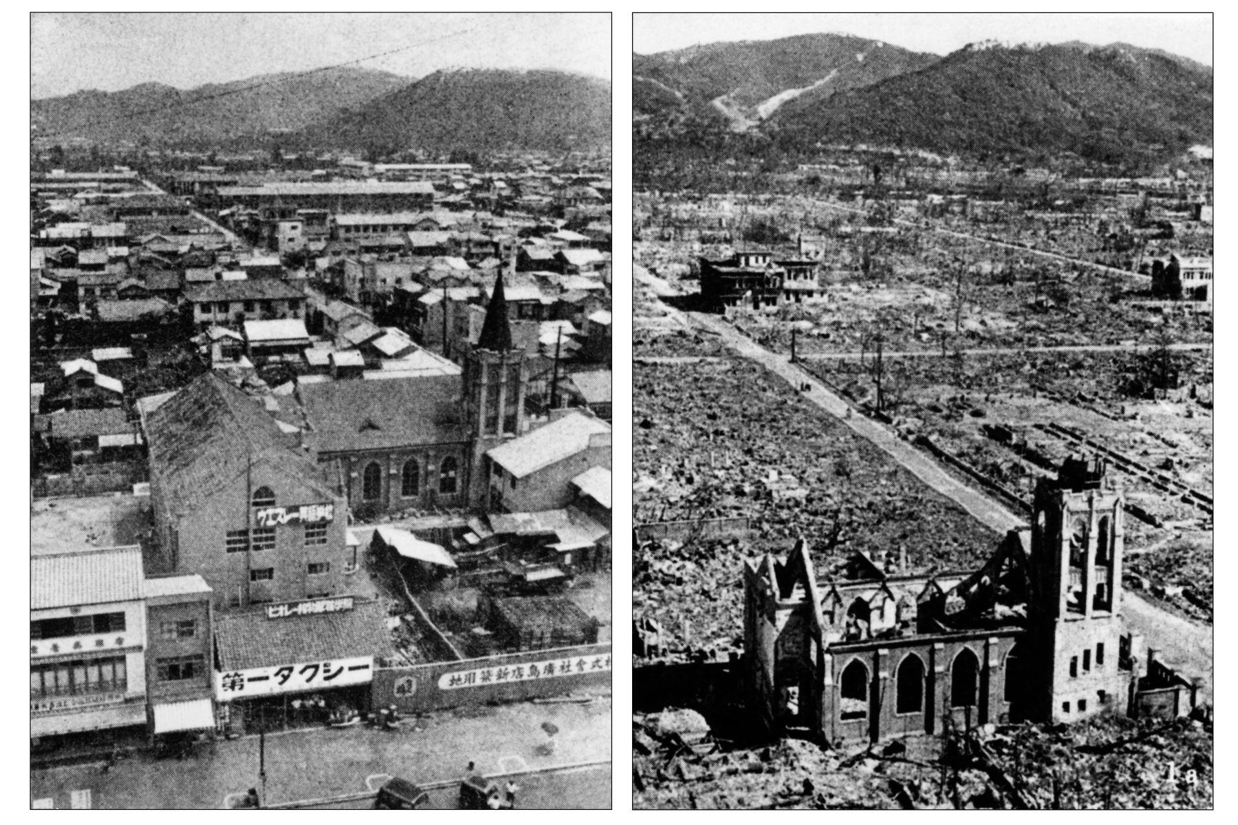 Archivos con fecha de 1945 de la devastada ciudad de Hiroshima antes y después de la caída de la primera bomba atómica por la Fuerza Aérea de los EE. UU. B-29, 06 de agosto de 1945. Alrededor de 140,000 personas, más de la mitad de la población de Hiroshima, falleció en el primer bombardeo atómico. Foto: AFP