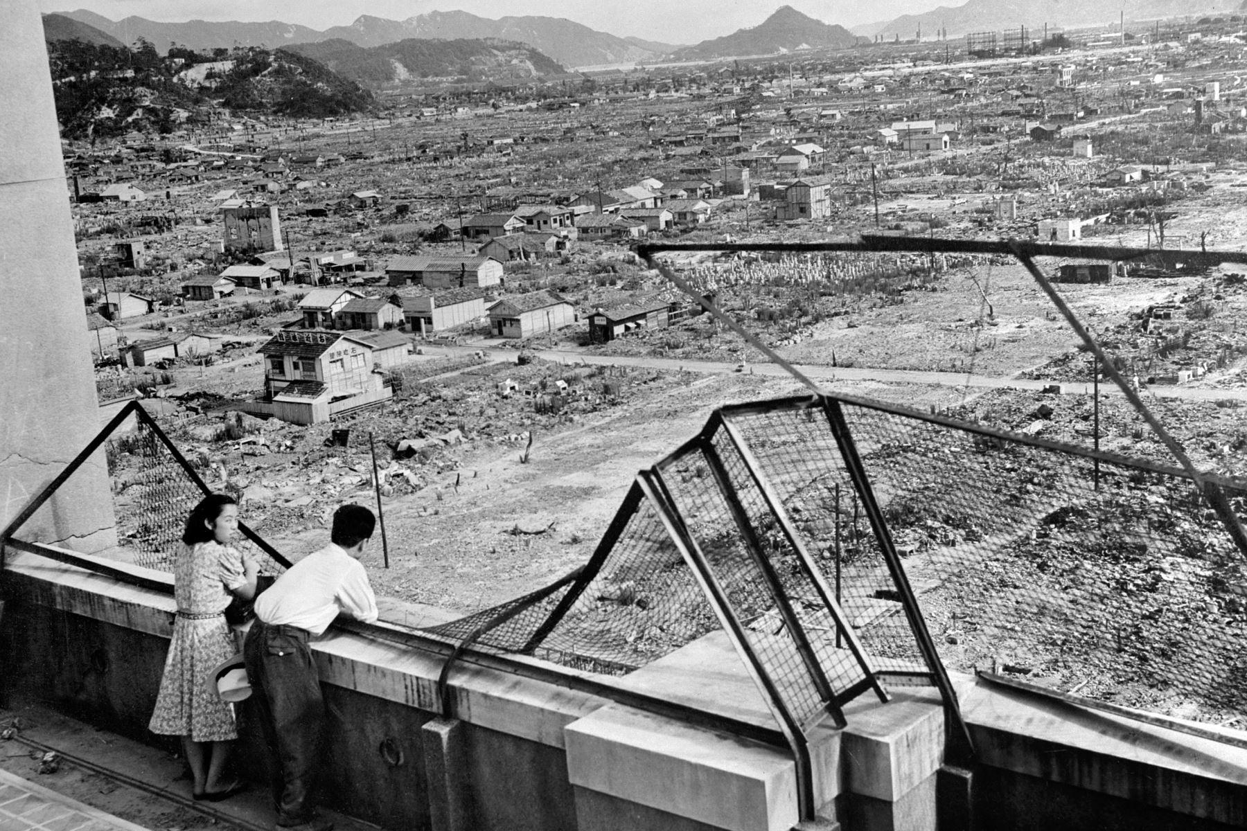Foto tomada en 1948, que muestra la devastada ciudad de Hiroshima en Japón, tres años después de arrojada la primera bomba atómica sobre su población. Foto: AFP
