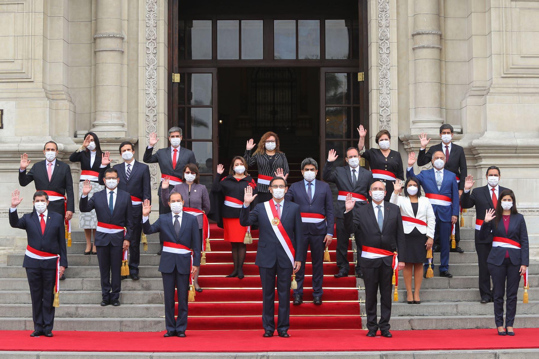 Fotografía Oficial del nuevo gabinete ministerial. Foto: ANDINA/ Prensa Presidencia