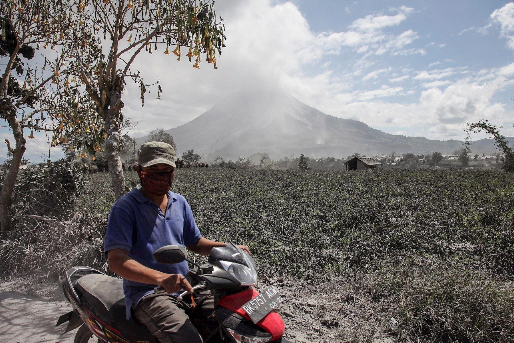 Las cenizas cayeron sobre los cultivos de los pobladores del lugar. Foto: EFE