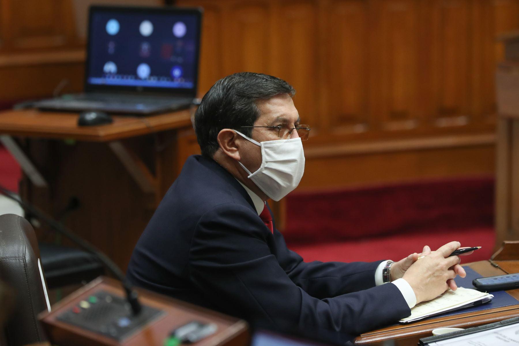 Ministro de Defensa, Jorge Luis Chávez Cresta, se presenta ante Congreso junto a gabinete ministerial para solicitar voto de confianza. Foto: ANDINA/PCM