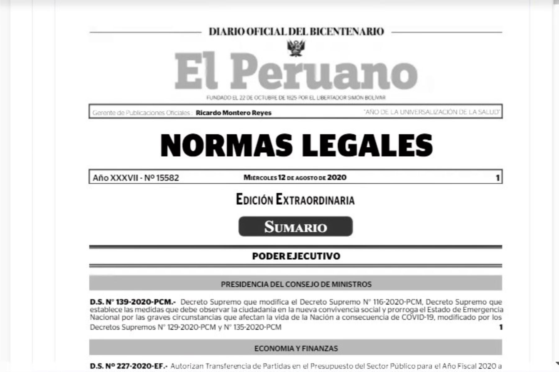 Publican en El Peruano el D.S. N° 139-2020-PCM.