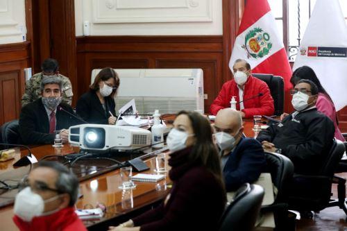 Coronavirus:  Presidente de Consejo de Ministros sostiene reunión con  sectores del Ejecutivo para la planificación de acciones inmediatas  en la región Loreto