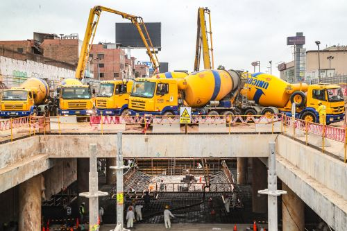 Obras de la línea 2 del Metro de Lima.  ANDINA/Difusión