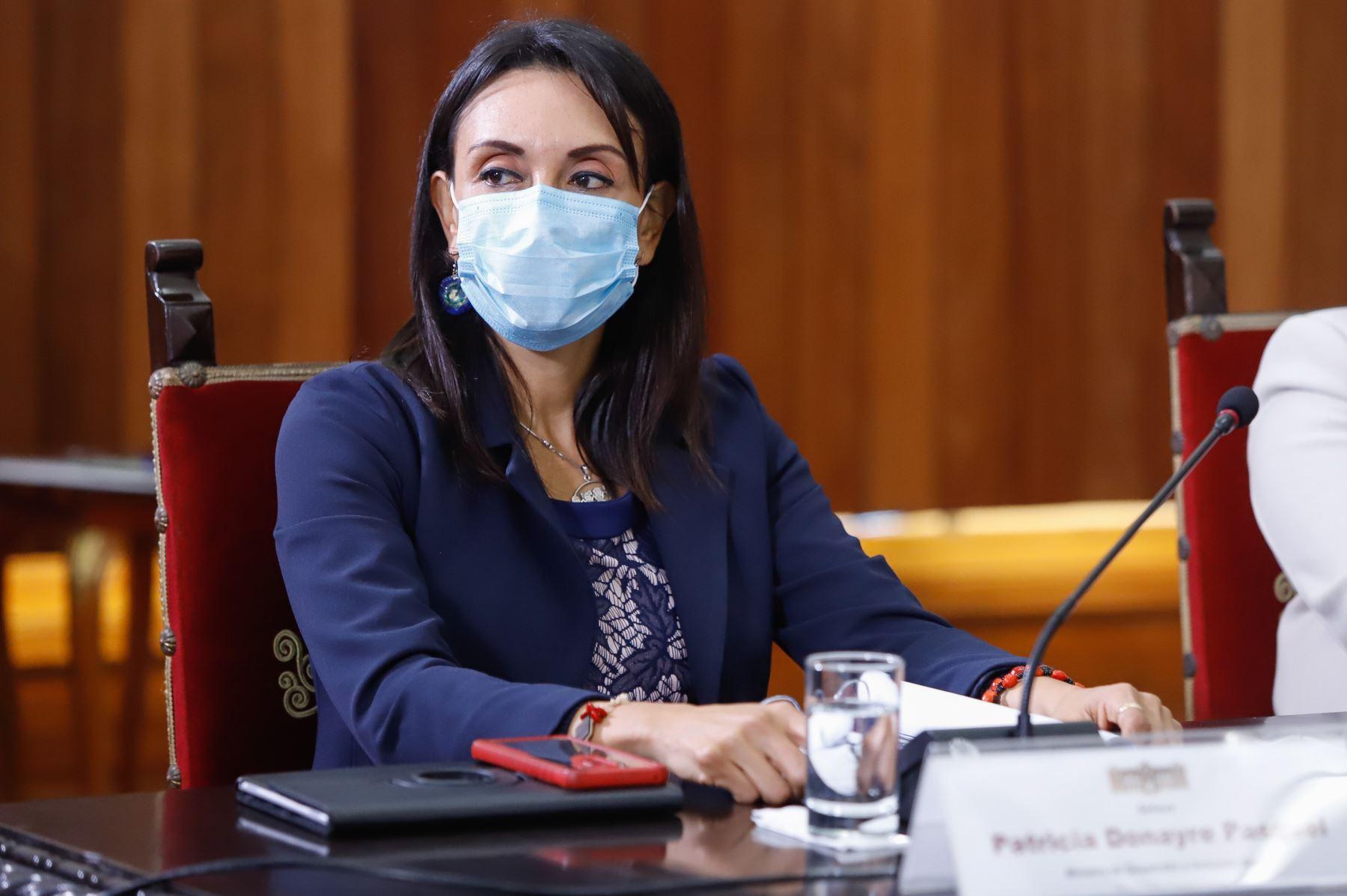 Ministra de Desarrollo e Inclusión Social, Patricia Donayre, participa en reunión donde se expondrán las propuestas del Pacto Perú. Foto: ANDINA/Prensa Presidencia