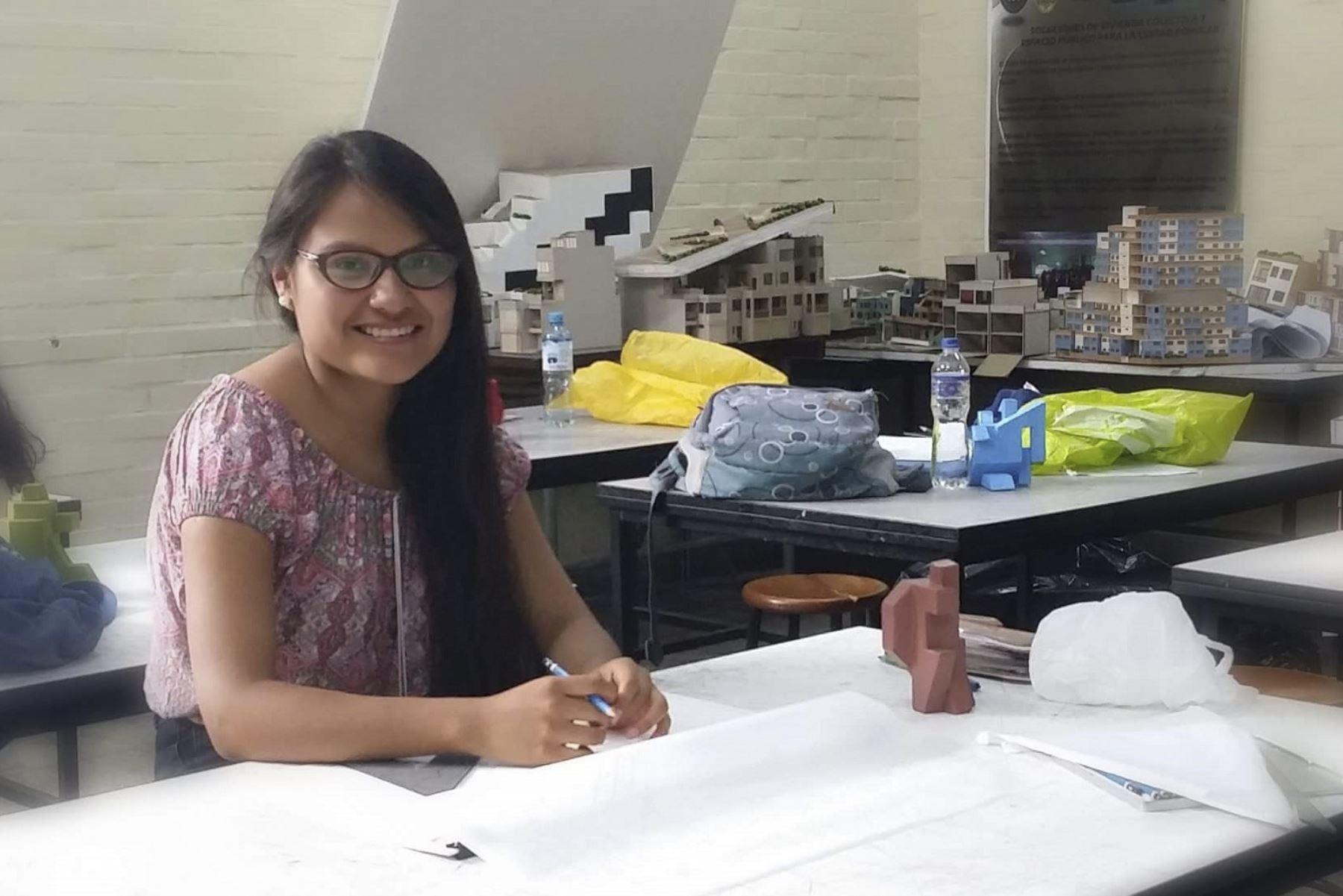 Marcela Valdeavellano ganó la Beca Permanencia de Pronabec en el 2017. Le ha permitido continuar sus estudios de Arquitectura y convertirse en líder en la Universidad Nacional de Ingeniería (UNI)