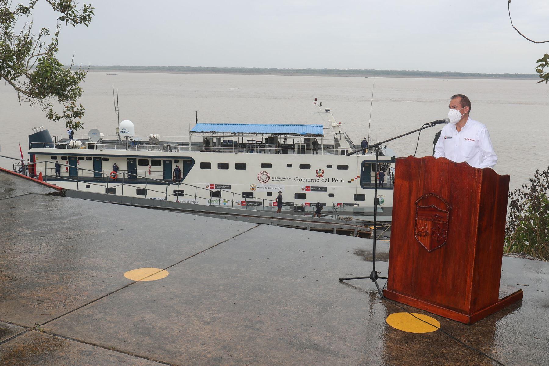 El presidente del Consejo de Ministros Walter Martos presidió, la ceremonia de zarpe de la campaña PIAS del  Midis en Iquitos, que llevará atención a poblaciones de comunidades nativas en el marco de las acciones de prevención y mitigación del covid-19.   Foto: ANDINA/PCM