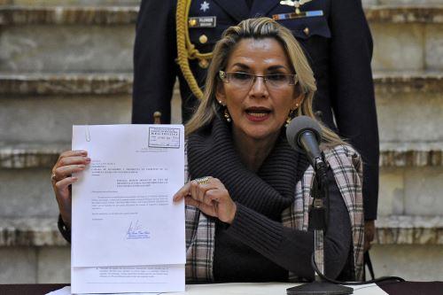 Presidenta interina de Bolivia, Jeanine Áñez. Foto: AFP