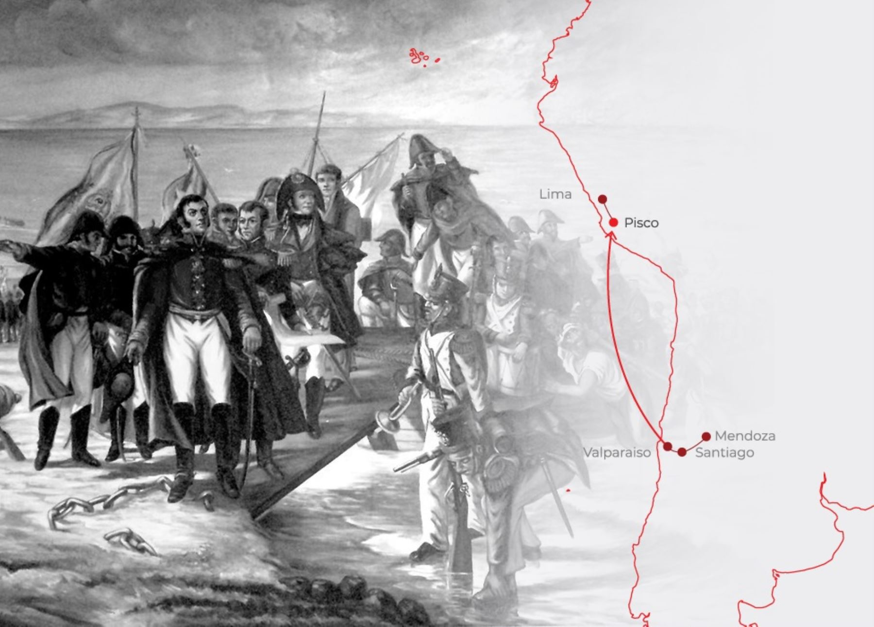 Con una ceremonia especial el Perú conmemora hoy 200 años del histórico desembarco del general José de San Martín y la Expedición Libertadora en la bahía de Paracas. ANDINA/Difusión