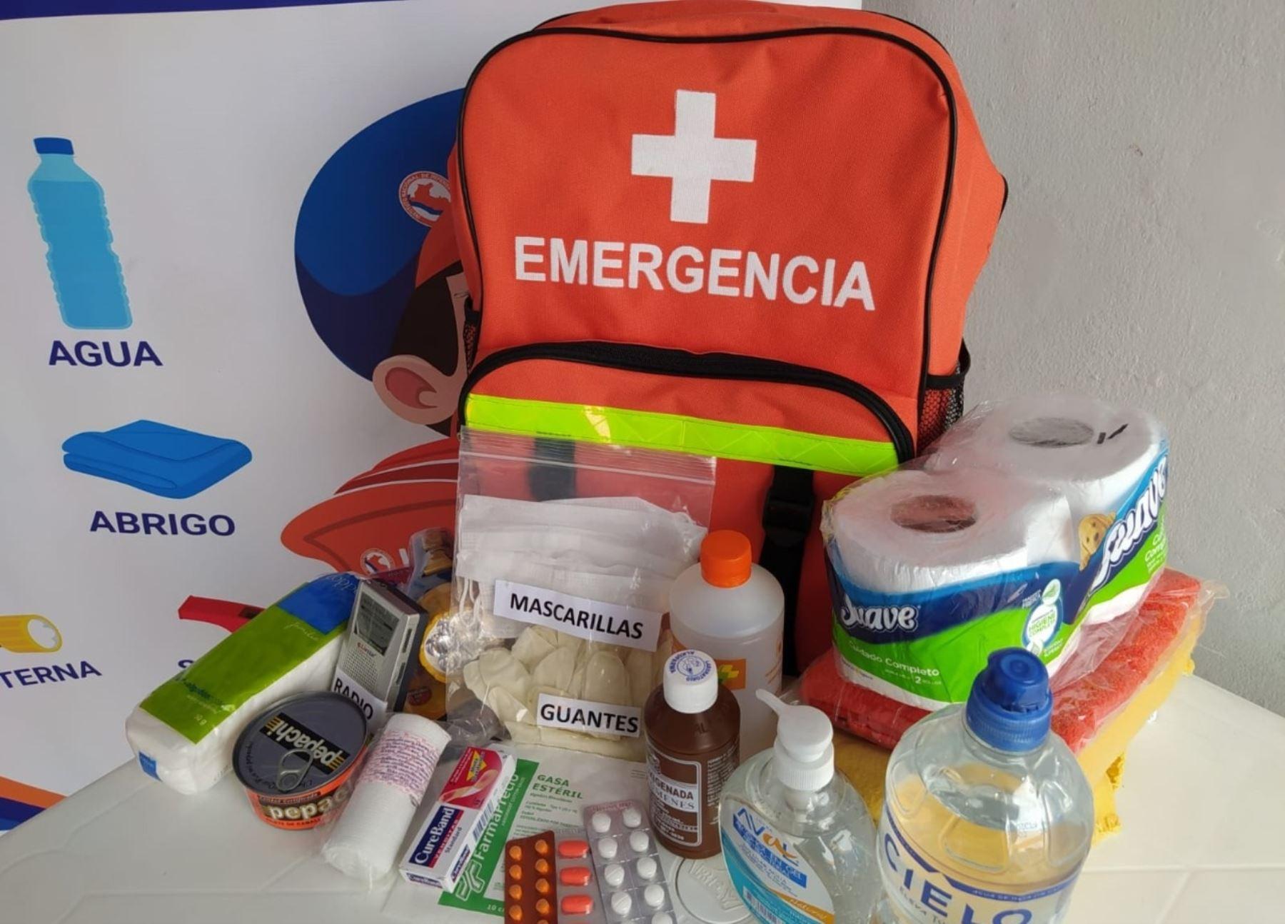 Mochila de emergencia. Foto: Gobierno Regional del Callao