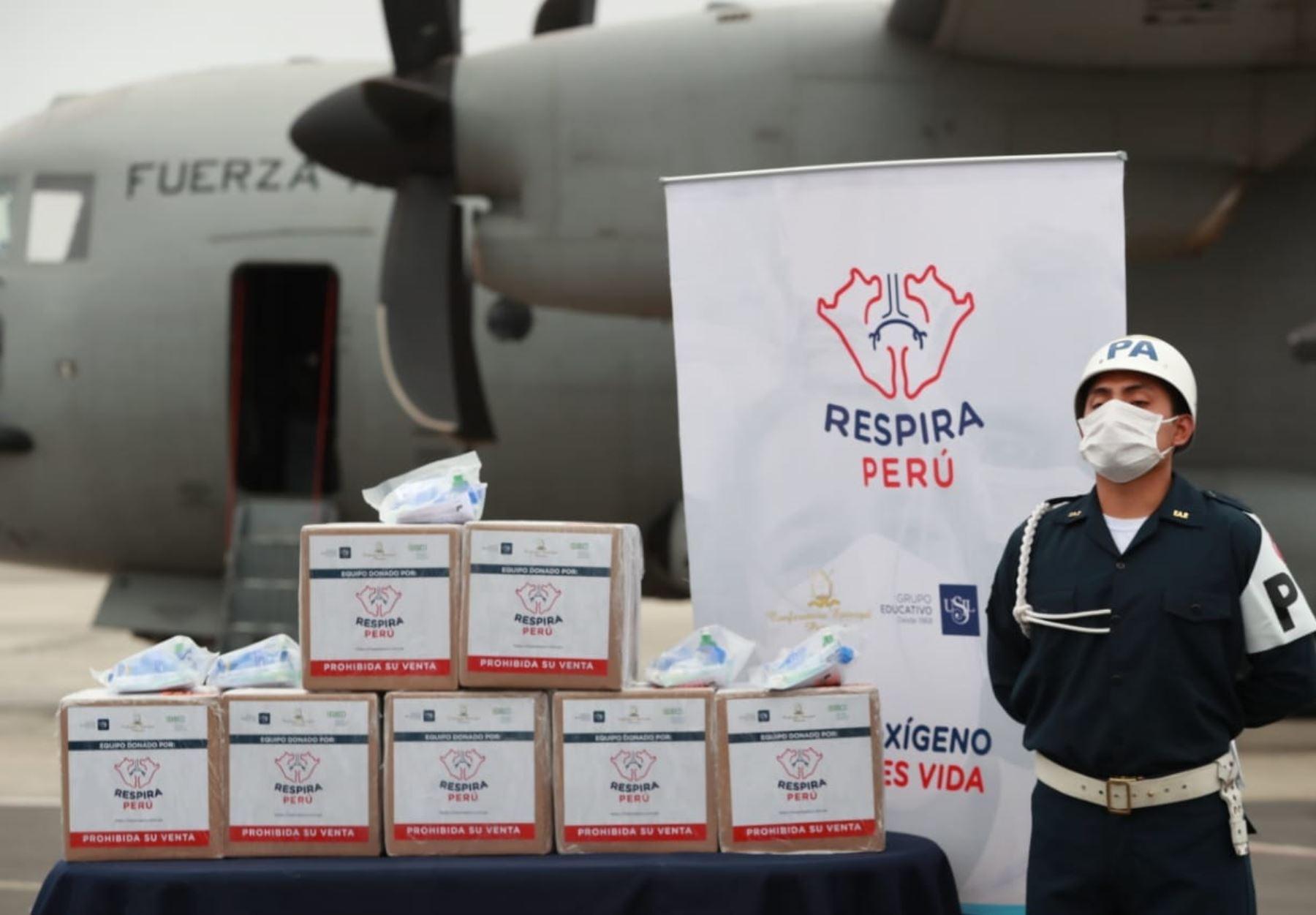 Ventiladores mecánicos de uso temporal, donados por Respira Perú, irán a Cajamarca, Moquegua y Tacna para reforzar lucha contra el coronavirus. ANDINA/Jhonel Rodríguez Robles