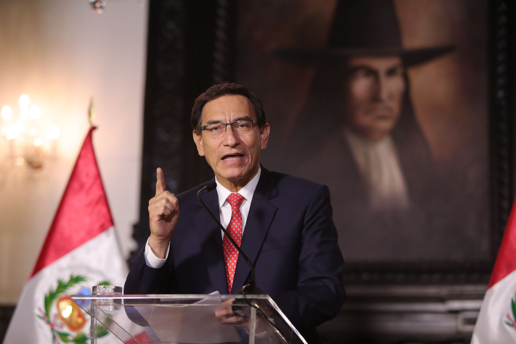 Peruvian President Martin Vizcarra delivers an Address to the Nation from the Government Palace in Lima. Photo: ANDINA/Presidency of the Republic