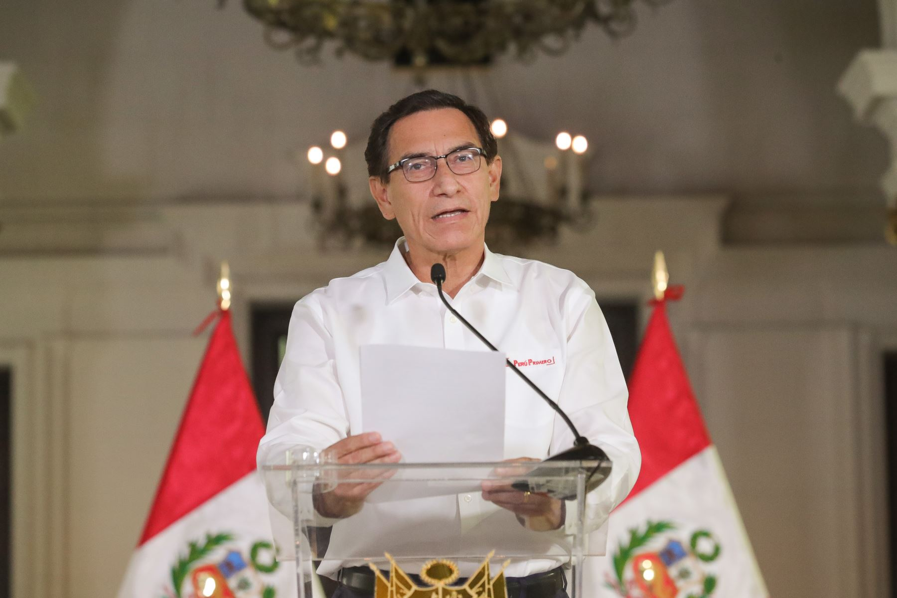 Peruvian President Martin Vizcarra delivers an Address to the Nation. Photo: ANDINA/Presidency of the Republic