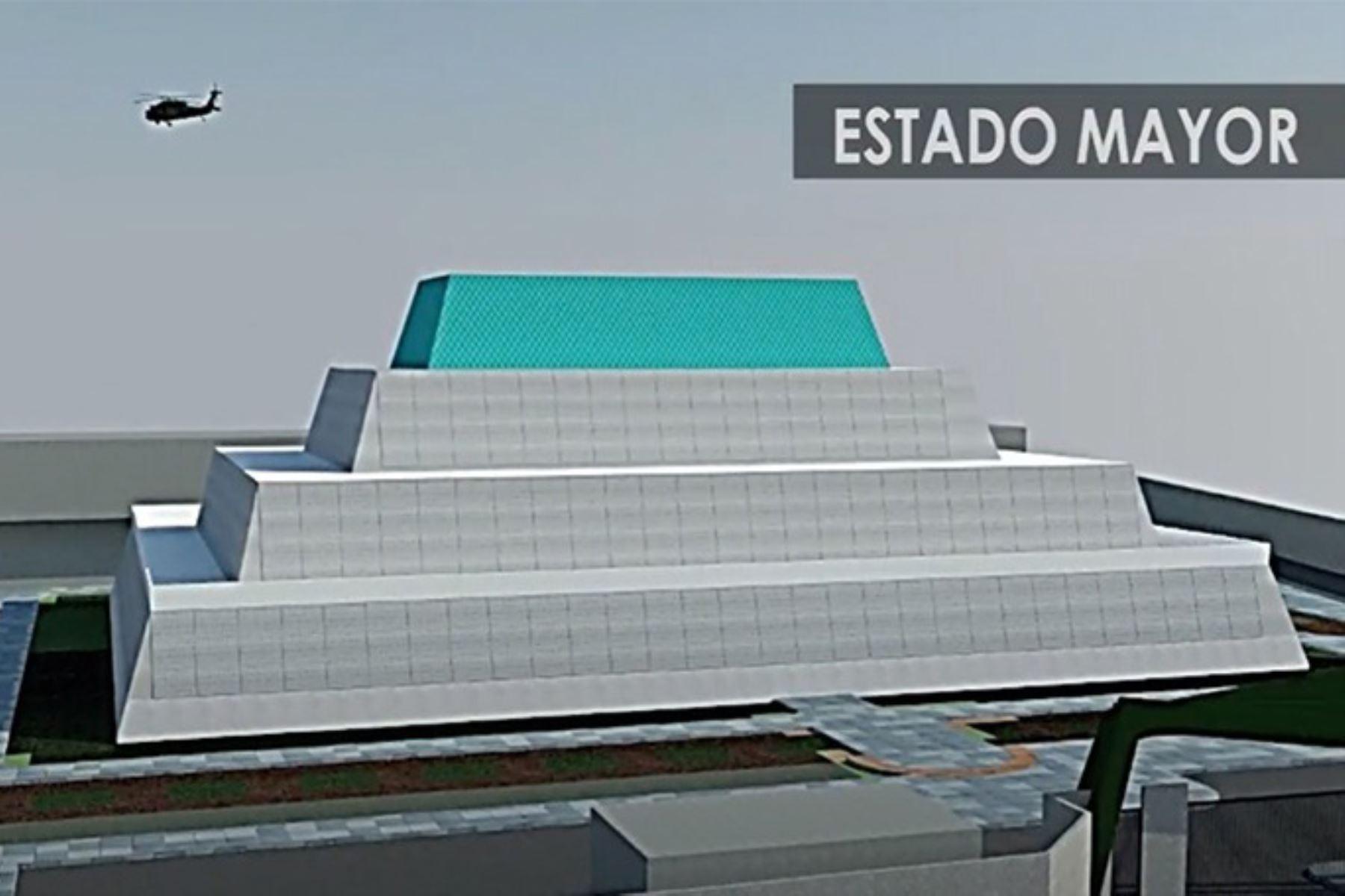 Futuro cuartel del Ejército en Lambayeque incluirá la construcción de un edificio que tendrá una forma de pirámide trunca, similar a la cultura Sipán. ANDINA/Difusión