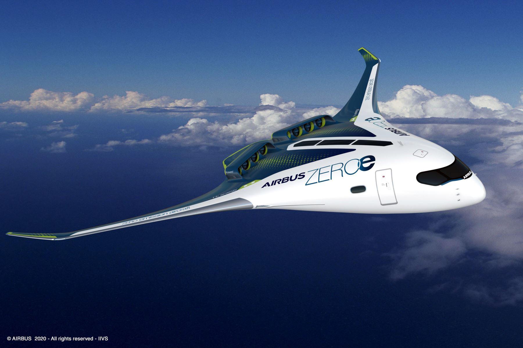 Esta imagen generada por computadora y publicada el 21 de septiembre de 2020 por la compañía aeronáutica multinacional europea Airbus muestra un prototipo de avión propulsado por hidrógeno de cero emisiones de CO2. Foto: AFP