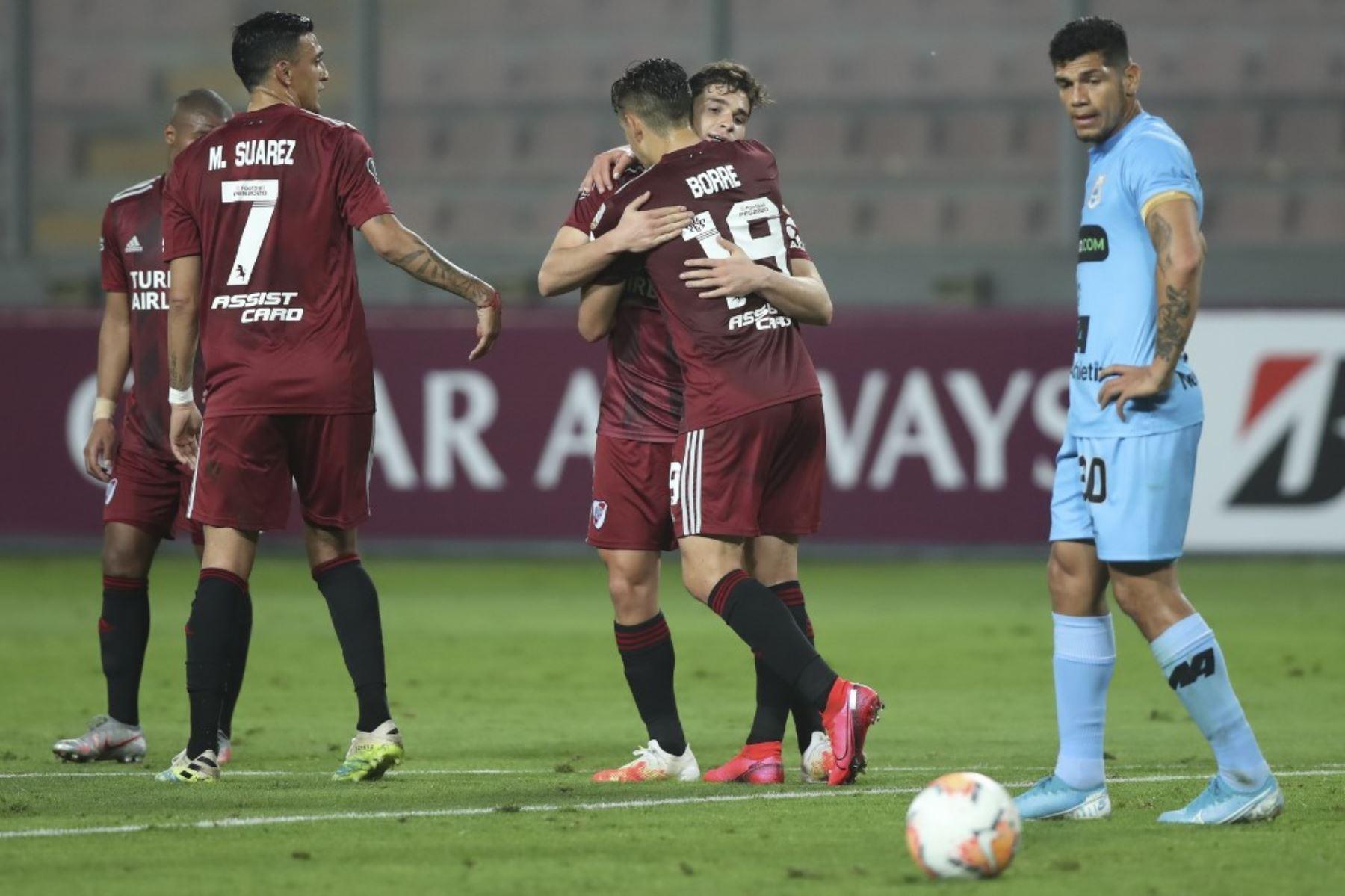 Binacional cayó 6-0 ante River Plate en Lima por la Copa Libertadores. En el partido de ida perdieron 8-0 en Buenos Aires. Foto: AFP