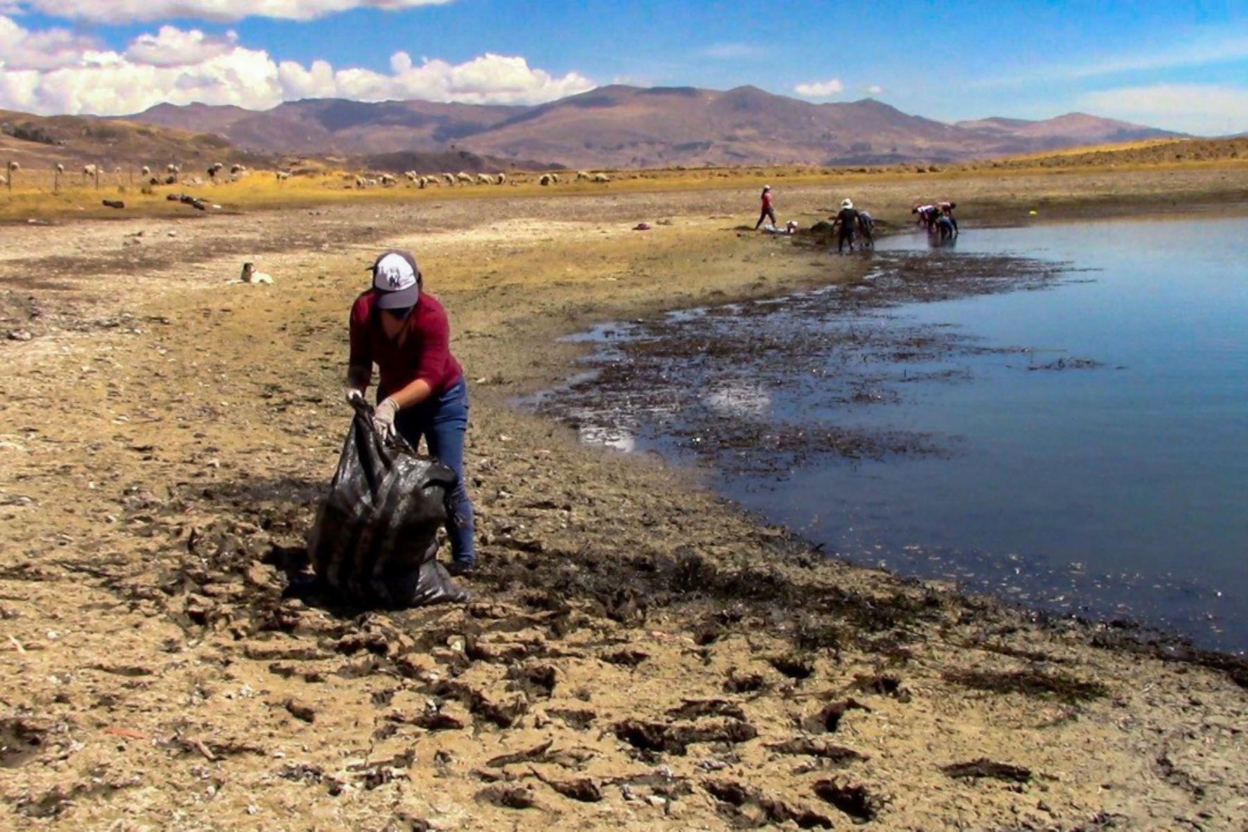 Ancashinos dan el ejemplo y se unen para limpiar la hermosa laguna Wilcacocha, ubicada en el Callejón de Huaylas, en la sierra de Áncash.  Foto: ANDINA/Dircetur Ancash