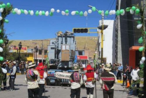 Llegada de la subestación eléctrica que beneficiará a las comunidades de Corani. Foto: Cortesía.