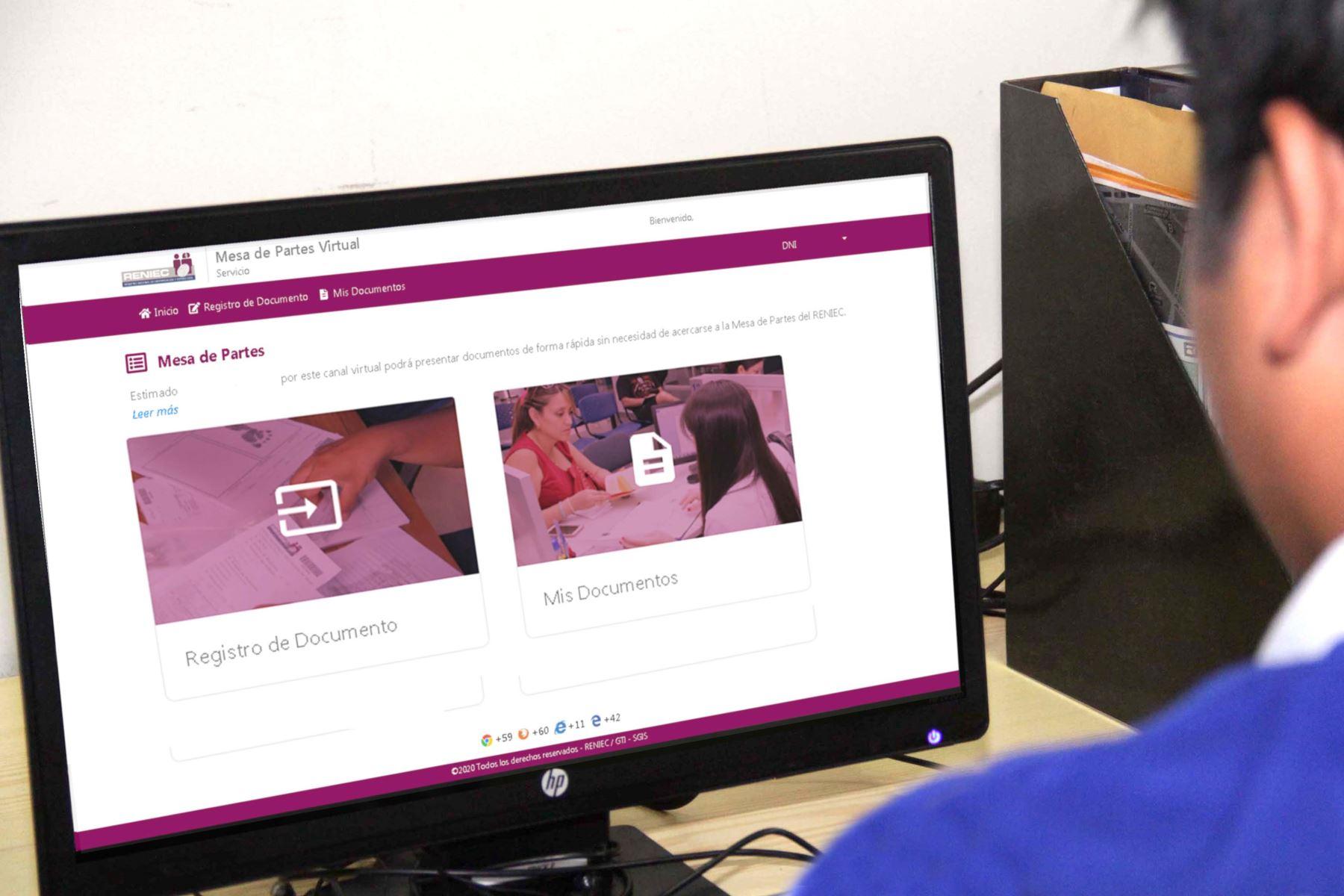 Reniec: ¿Qué trámites se pueden realizar a través de la Mesa de Partes Virtual? Foto: ANDINA/Difusión.