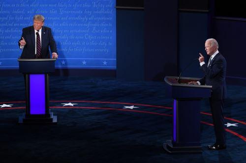 El presidente Donald Trump y el candidato demócrata Joe Biden participan en su primer debate presidencial en Estados Unidos. AFP