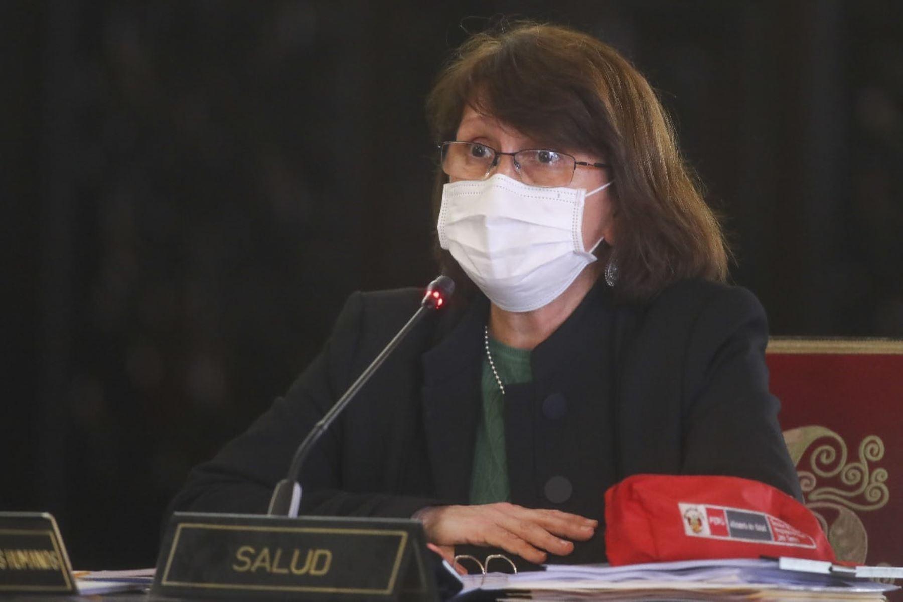 Ministra de Salud Pilar Mazzetti, durante la conferencia de prensa en el día 199 del Estado de Emergencia Nacional, donde se anuncia  nuevos alcances y medidas entorno a la lucha contra la pandemia del covid-19, en palacio de gobierno. Foto:ANDINA/Prensa Presidencia