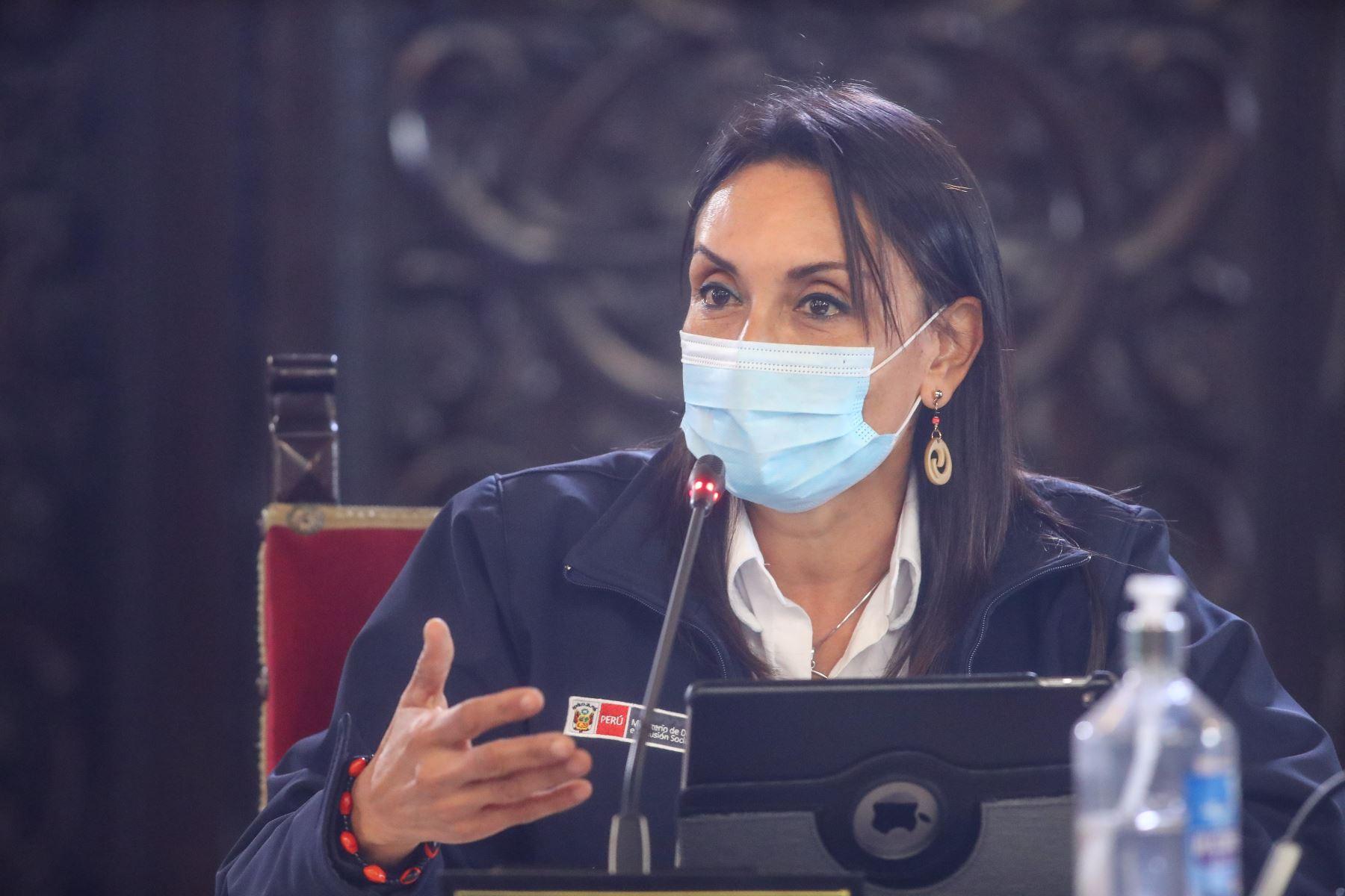 Ministra de Inclusión Social Patricia Donayre, durante la conferencia de prensa en el día 199 del Estado de Emergencia Nacional, donde se anuncia  nuevos alcances y medidas entorno a la lucha contra la pandemia del covid-19, en palacio de gobierno. Foto:ANDINA/Prensa Presidencia