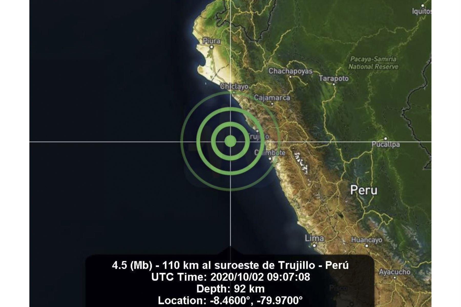 Un sismo de magnitud 4.8 se registró en la ciudad de Trujillo, región La Libertad. Foto: ANDINA/Difusión
