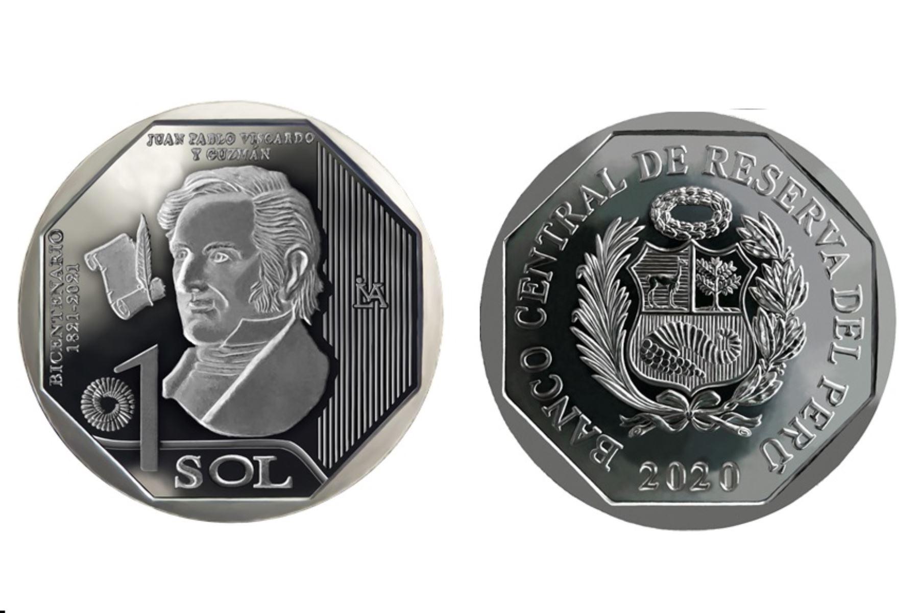 Moneda de S/1 alusiva a Juan Pablo Viscardo y Guzmán. Fuente: BCR.