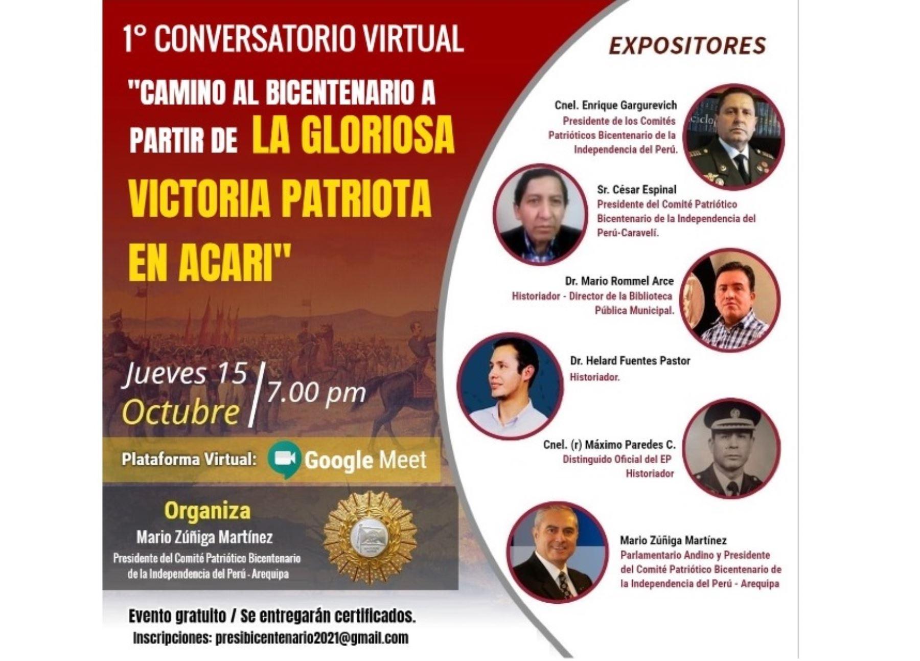 Organizan conversatorio virtual en Arequipa por el Bicentenario de la Independencia del Perú y la victoria de la batalla de Acarí.