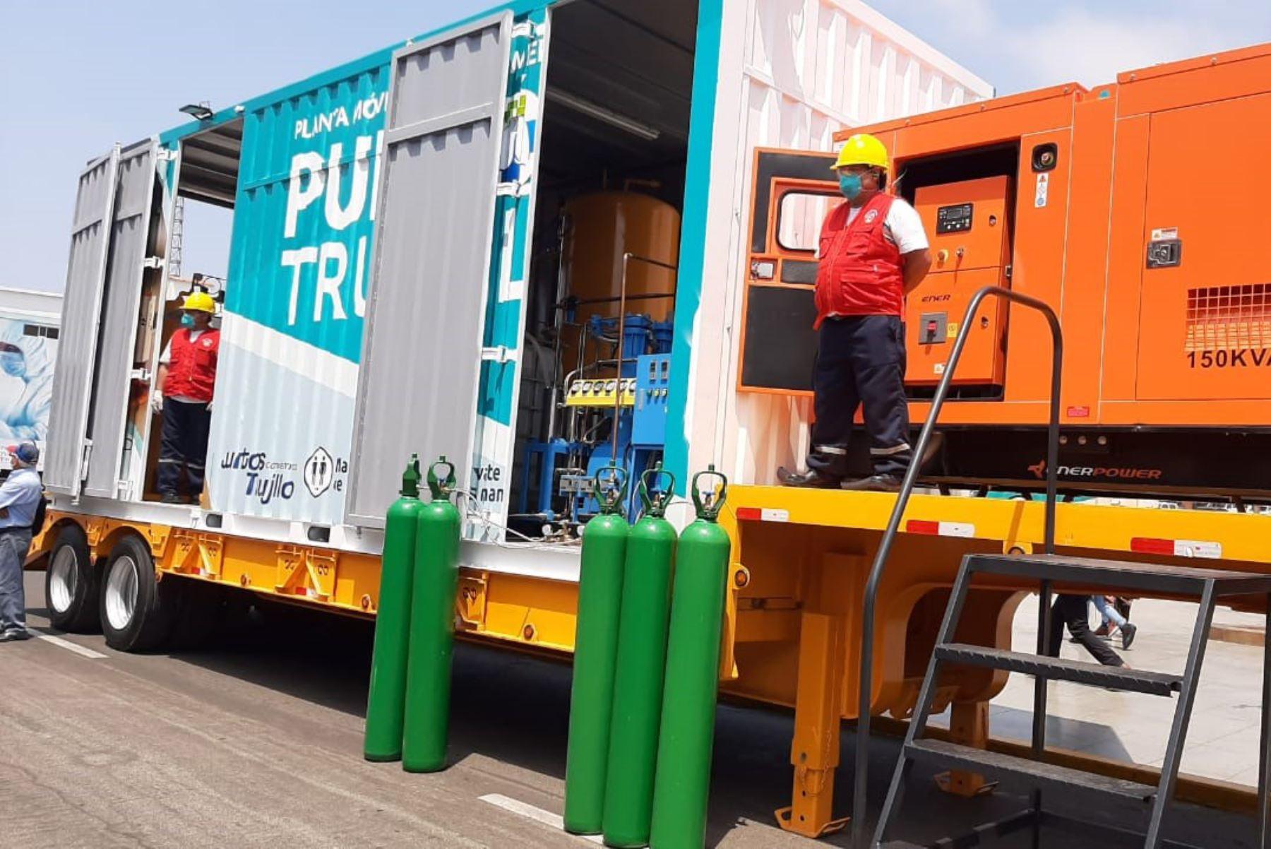 La municipalidad de Trujillo puso en operaciones una planta generadora de oxígeno medicinal y consultorios móviles para detectar covid-19. Foto: ANDINA/Difusión