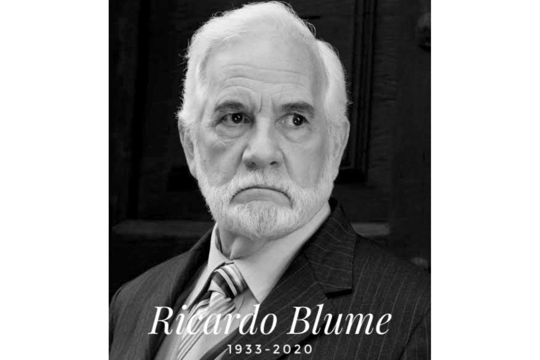 El actor peruano Ricardo Blume falleció hoy. Foto: ANDINA/Difusión