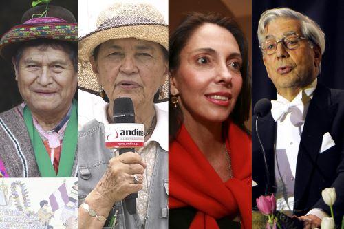 """El artista Primitivo Evanán, la arqueóloga Ruth Shady, la empresaria Inés Temple y el escritor Mario Vargas Llosa, son algunos de los personajes que entrevistará la periodista Alejandra Puente en """"Peruanos al Bicentenario"""" de TV Perú. ANDINA/Difusión"""