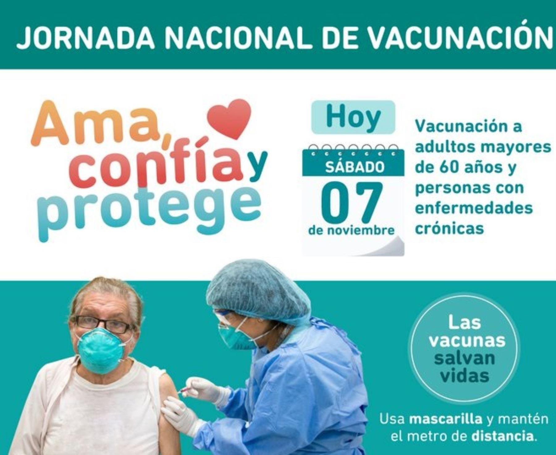 Cerca de 5,000 puntos de vacunación estarán al servicio de la población este fin de semana en todo el país. Foto: Minsa.